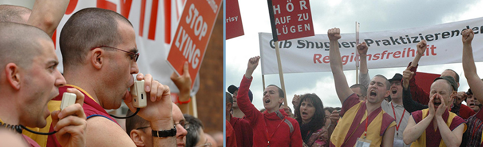 Protests against Dalai Lama by New Kadampa Tradition via Western Shugden Society (WSS) in England and Germany, 2008