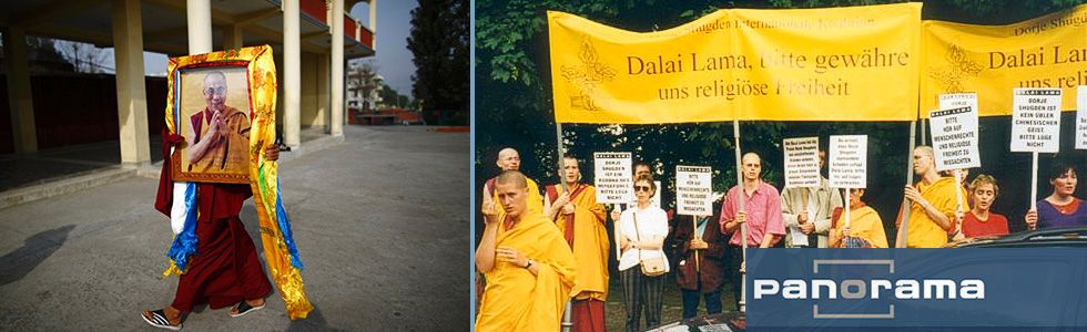 Protests against the Dalai Lama by New Kadampa Tradition via Shugden Supporters Community (SSC) in Berlin, Tempodrom, 8 June 1998