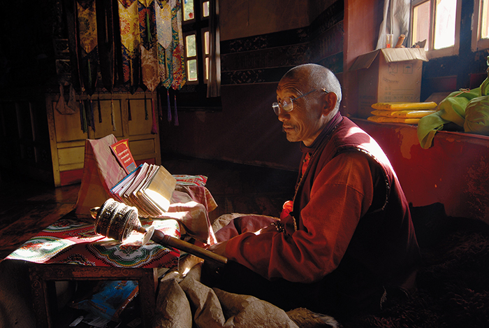 Monk studying in Namling Monastery - East Tibet