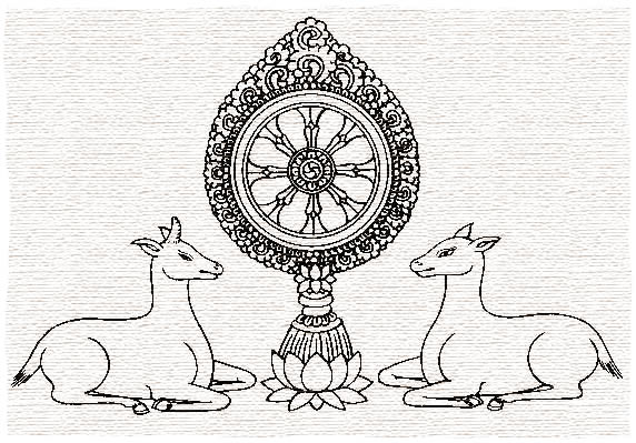 Dhamma wheel with deer