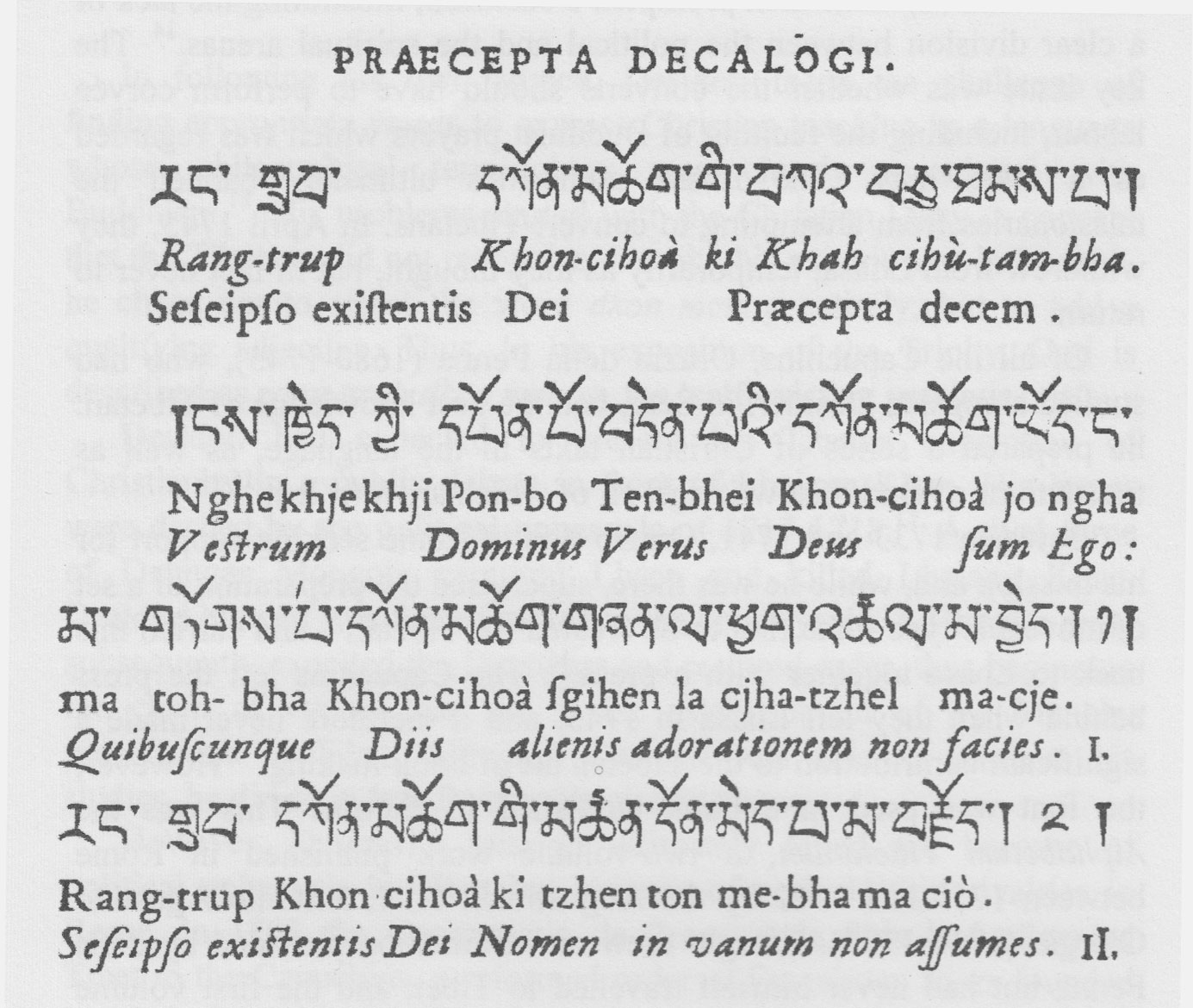 the Ten Commandments in Tibetan and Latin