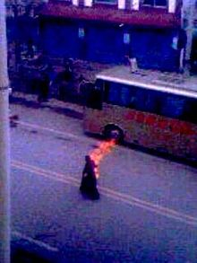 Self-immolation, Tapey, a Tibetan Buddhist monk in Ngaba, Tibet.