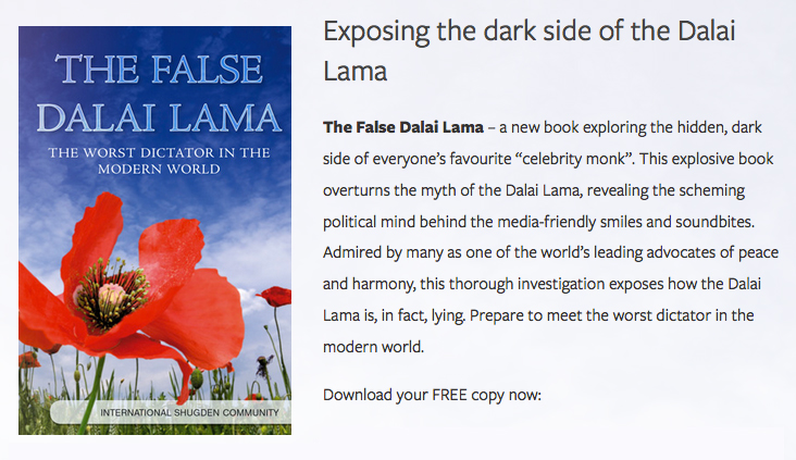 "The Dalai Lama as the ""worst dictator"" whose ""dark side"" has to be exposed."