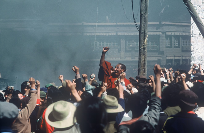 Tibetans' uprising in 1987. John Ackerly.